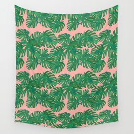 Monstera Stripe on Pink Wall Tapestry