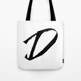 Letter D Ink Monogram Tote Bag