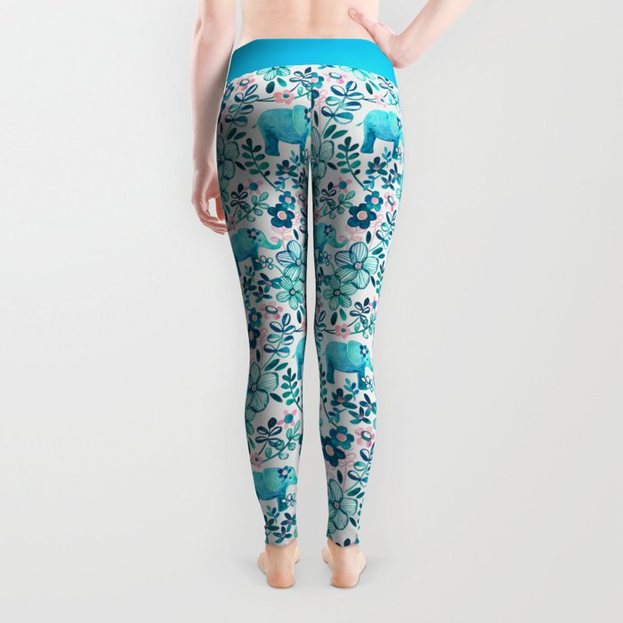 Dusty Pink, White and Teal Elephant and Floral Watercolor Pattern Leggings