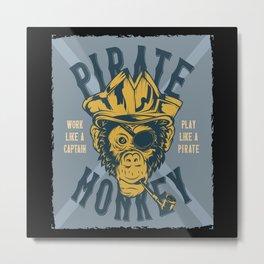 Monkey Pirate Metal Print