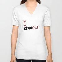 bad wolf V-neck T-shirts featuring Bad Wolf by DocPastor