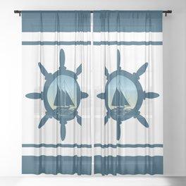Sailing scene Sheer Curtain