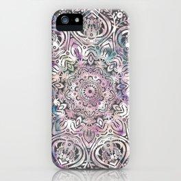 Dreams Mandala - Magical Purple on Gray iPhone Case