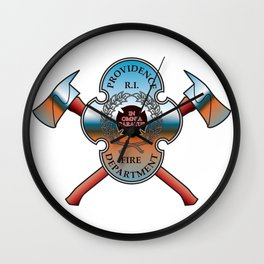 Providence Fire Department Badge with Crossed Axes Wall Clock