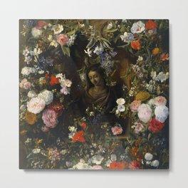 """Nicolaes van Veerendael """"Garland surrounding the Virgin Mary"""" Metal Print"""