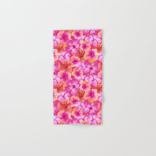Tropical hibiscus pattern on pink  Hand & Bath Towel
