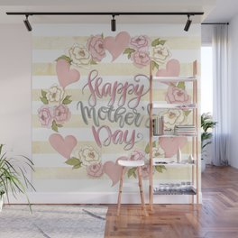 Happy Mothers Day Wreath Wall Mural