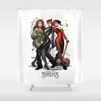 gotham Shower Curtains featuring Sirens Gotham city by rainbowarts