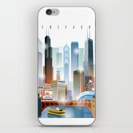 Chicago city skyline painting iPhone Skin