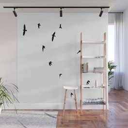 A Murder of Crows In Flight Silhouette Wall Mural