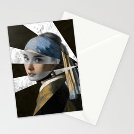 """Vermeer's """"Girl with a Pearl Earring"""" & Audrey  Stationery Cards"""