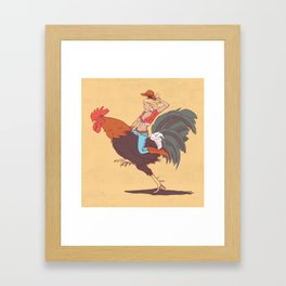 Girl Riding a Cock Framed Art Print