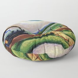American West Classical Masterpiece 'Trains Colliding' by Thomas Hart Benton Floor Pillow