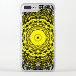 Yellow black design Clear iPhone Case