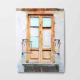 Window and balcony with broken railing Metal Print