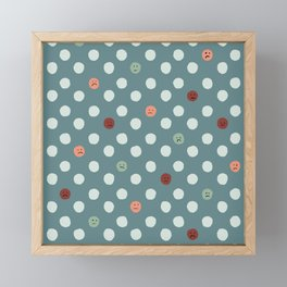 Sad Polka Dots Blue Multi Color Framed Mini Art Print