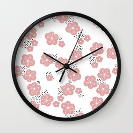 Hello spring Japanese cherry blossom love pink Wall Clock