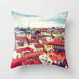 Prague panorame city Throw Pillow