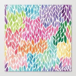 Rainbow Watercolor Leaf Teardrop Pattern Canvas Print
