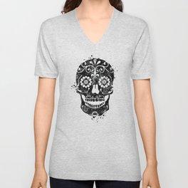 Sugar Skull Art Black and White Art Gift Skull Illustration Calavera Mexican Skull Art Unisex V-Neck