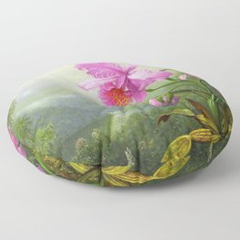 Hummingbird Perched On The Orchid Plant - Martin Johnson Heade Floor Pillow