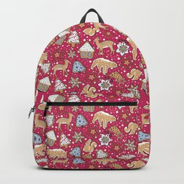 Gingerbread on a crimson background Backpack