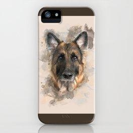 German Shepherd Neutral Watercolor iPhone Case