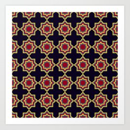 Moroccan Flare Geometric Seamless Pattern Art Print