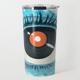 Musical vision: eye illustration with vinyl record for pupil Travel Mug