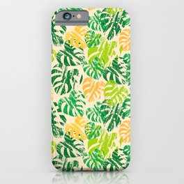 Monstera Leaves Vanilla iPhone Case