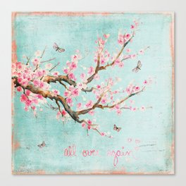 Its All Over Again - Romantic Spring Cherry Blossom Butterfly Illustration on Teal Watercolor Canvas Print
