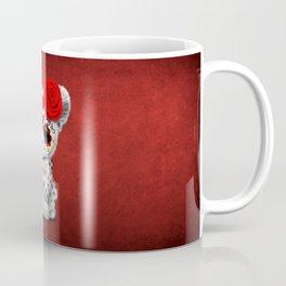 Red Day of the Dead Sugar Skull Snow Leopard Cub Coffee Mug