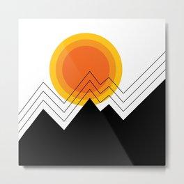 Aztec Mountain Sun Metal Print