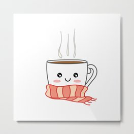 Cute smiling winter coffee with scarf Metal Print