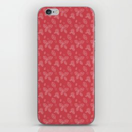 Pink white hand painted floral leaves doodle pattern iPhone Skin