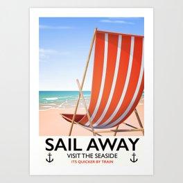 Sail Away Deckchair travel poster Art Print