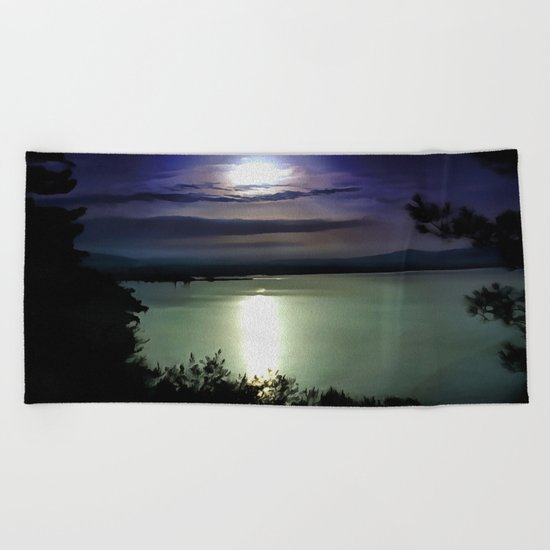 Blue Coastal Sunset Beach Towel