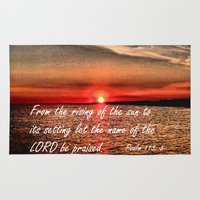 bible Area & Throw Rugs featuring Bible Scripture Psalm 113:3 by Saribelle Inspirational Art