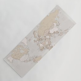 """The world is yours to explore, rustic world map with cities, """"Lucille"""" Yoga Mat"""