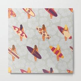Summer Surfer Girl Pattern. Women holding surfboards illustration on hibiscus flower background Metal Print