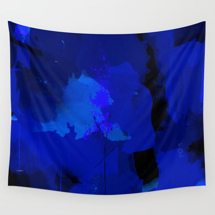 Night Blue Strokes Dark Blue And Black Abstract Painting B01yk Wall Tapestry By Peraboom
