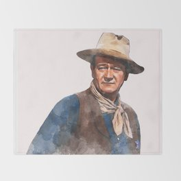 John Wayne - The Duke - Watercolor Throw Blanket