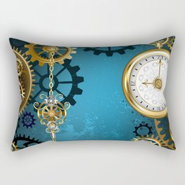 Turquoise Background with Gears ( Steampunk ) Rectangular Pillow