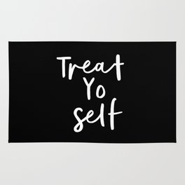 Treat Yo Self black-white contemporary minimalist typography poster home wall decor bedroom Rug