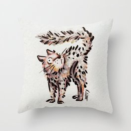 Scaredy Cat Throw Pillow