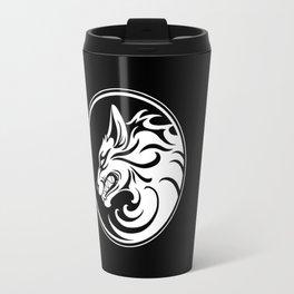 White and Black Growling Wolf Disc Travel Mug