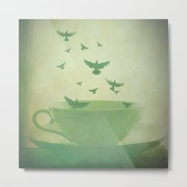 Morning Flight Coffee Tea Bird Flying Dream Surreal Home Kitchen Art Metal Print