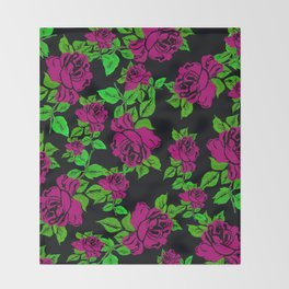 ROSES ROSES PINK AND GREEN Throw Blanket