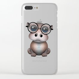 Cute Nerdy Baby Hippo Wearing Glasses Clear iPhone Case