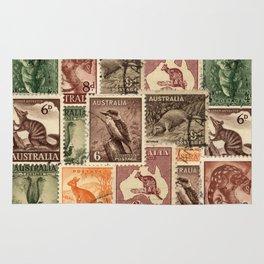 Vintage Australian Postage Stamps Collection Rug